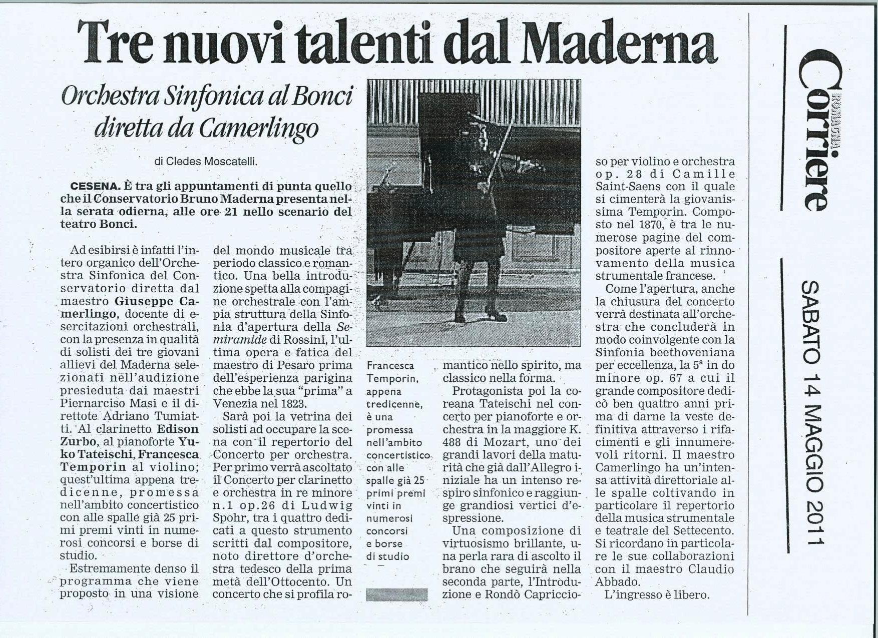Corriere Romagna Concerto 14.05.2011